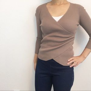 Lulus faux wrap ribbed sweater beige/tan size S